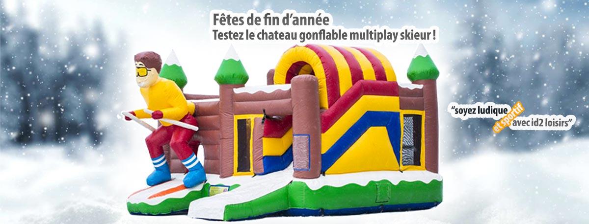 Fêtes de fin d'année, testez le chateau gonflable multiplay skieur !